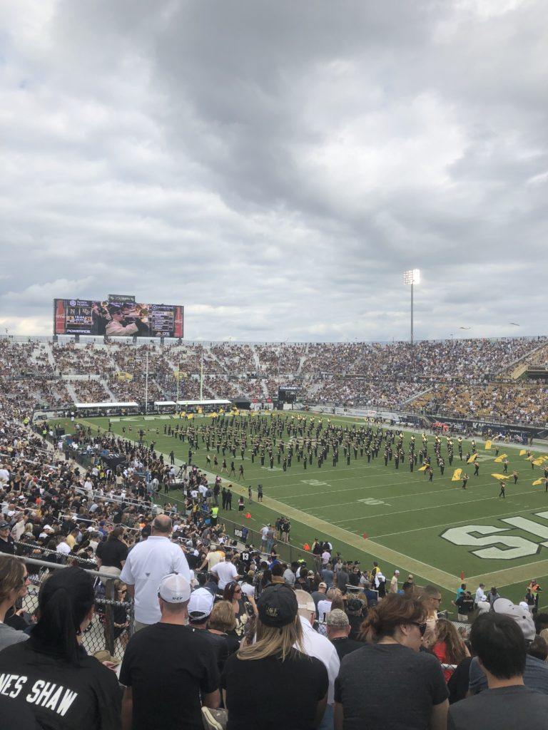 UCF marching band at halftime