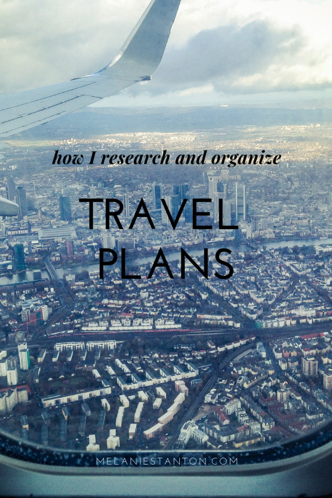 how I research and organize travel plans.
